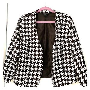 Ashley Stewart Open Front Houndstooth Blazer